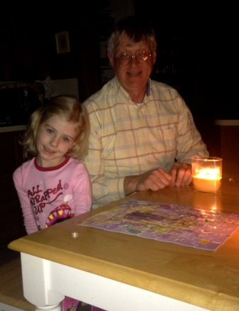 Poppi and Brookers putting puzzles together.