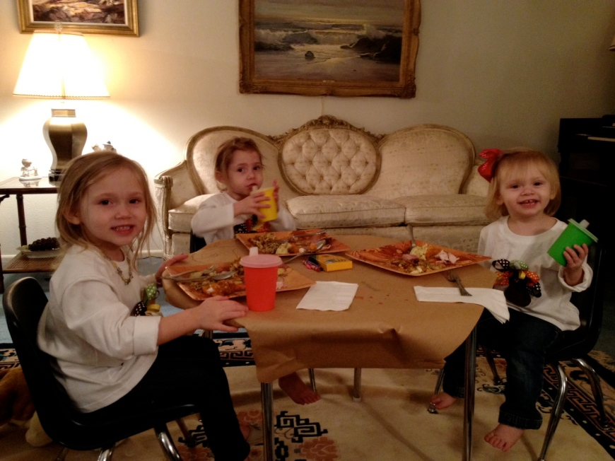The girls at the kids table