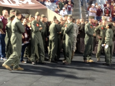 The terrific pilots that did the fly-over at the start of the game!