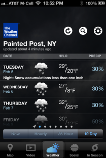 The weather for this week in Painted Post, NY.