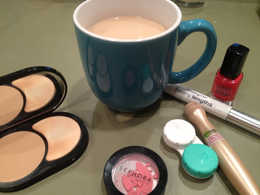 What morning would be complete without a cup of coffee and makeup?  Necessities!