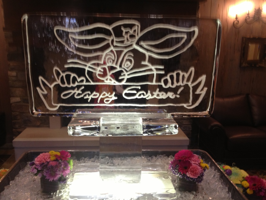 Ice Sculpture at the Odessa Country Club!  Happy Easter!