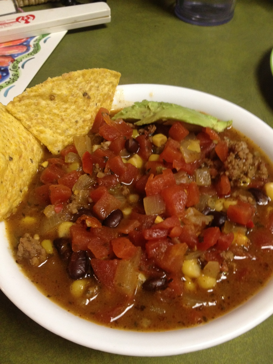 Dinner - taco soup.  Yum!