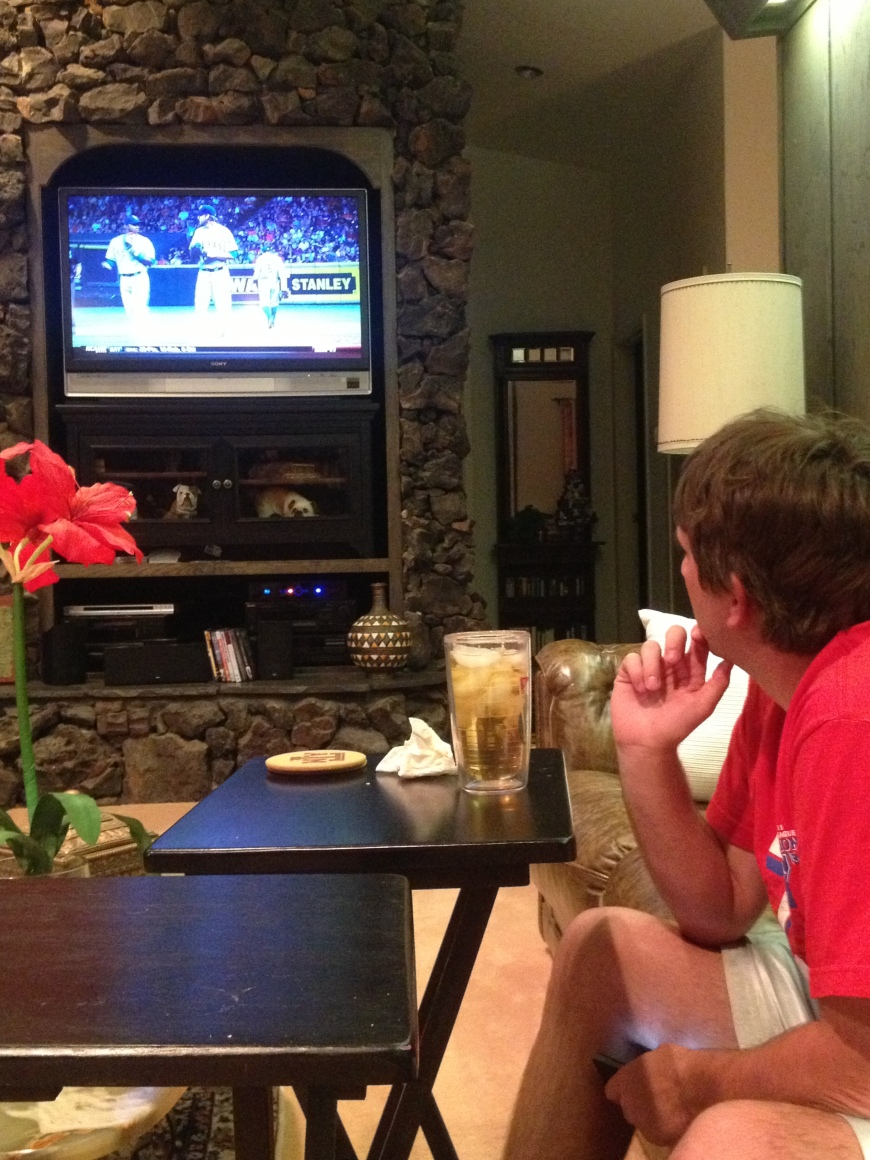 Intensely watching the Rangers lose to the Astro's.  Come on, Rangers!!