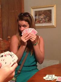 Teaching Peyton how to play Gin Rummy.....he's sneaky, so keep those cards close!