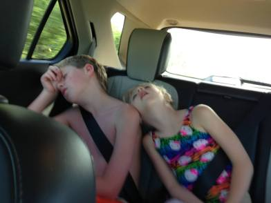 Brooke and Zachary were tired from their river floating excursion!