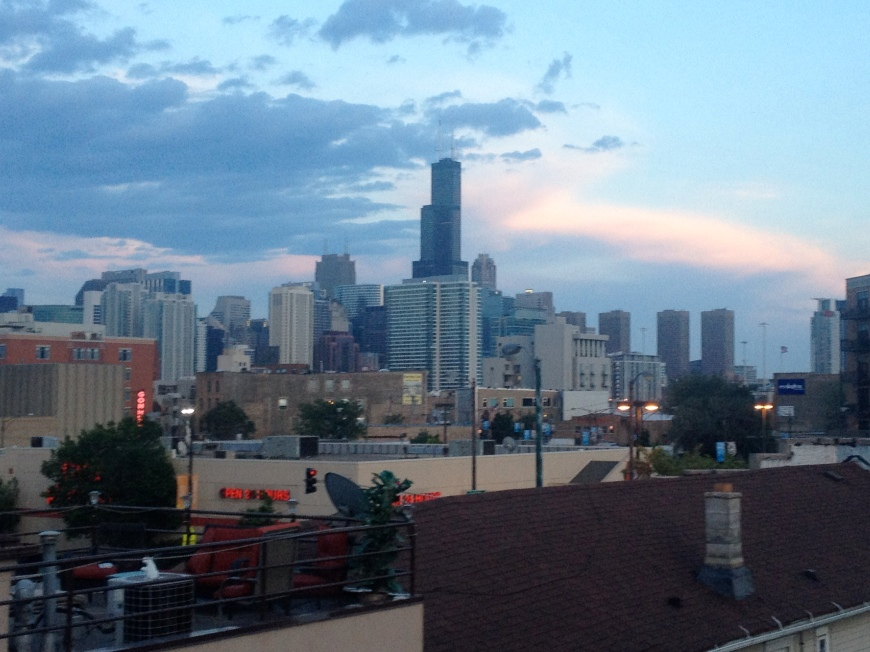 The Chicago sky line from they guys' place.